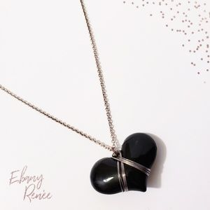 Silver Chain with Black Heart Medallion